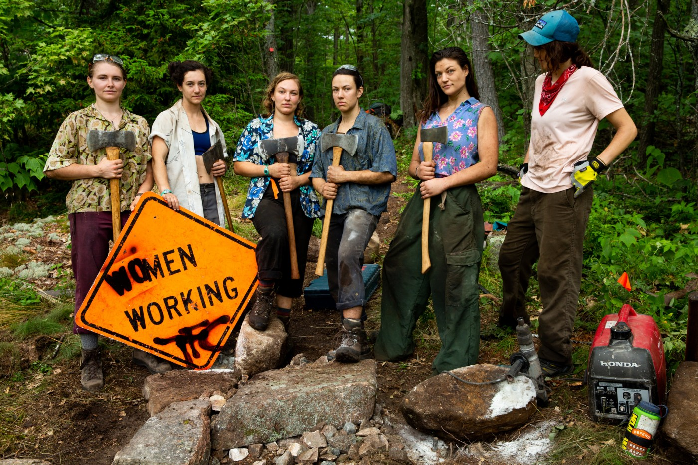 The Adirondack Trail Crew, from left: Char, Crandy, Nami, Nips, Two-Scent, and Kirby.