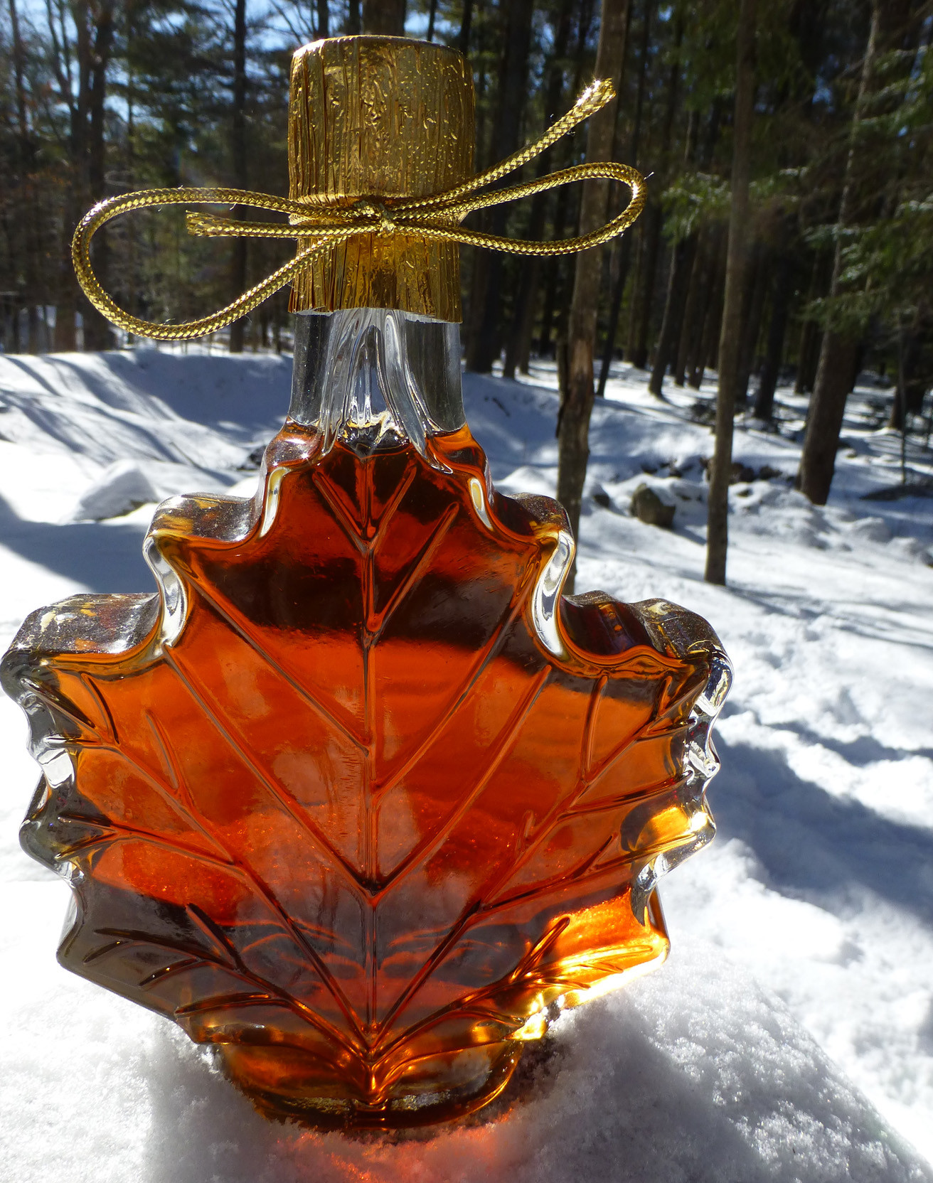 Real Adirondack maple syrup in the famous glass maple leaf jar, made from Eckert's Tree Farm!